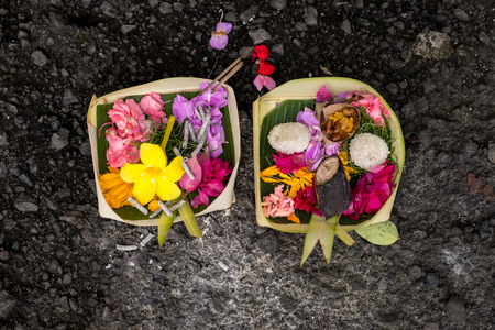 Balinese traditional offerings the god with flower and aromatic that can see everywhere in the place of worship.