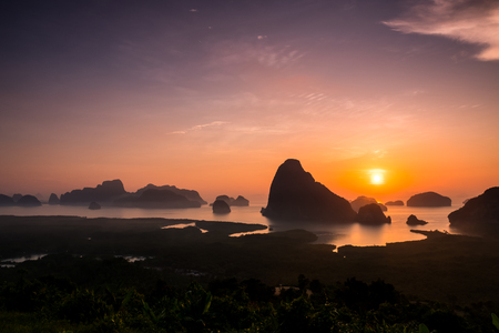 Sunrise over the beautiful islands at Pang Nga province, southern Thailand.