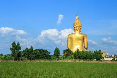 Big golden Buddha at Wat Muang of Ang Thong province Thailand photo