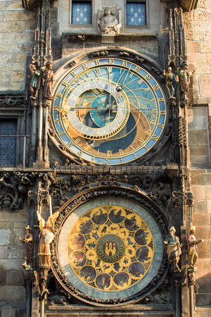 Astronomical Clock or Orloj lower dial on the Staromestske namesti Square, Czech Republic.