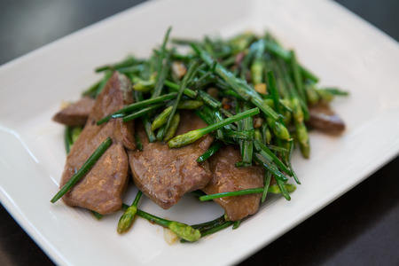 stir-fried Pork liver with chines chive thai styles Stock fotó