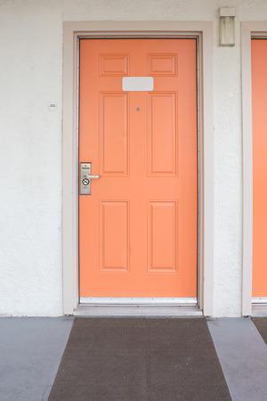 viewer: orange Door with handle, lock and viewer