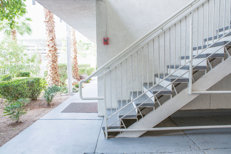 Outdoor Concrete Staircase With Steel Handrail