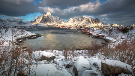 Traditional Norwegian fishermans cabins, rorbuer, on the island of Hamnoy, Reine on the Lofoten in northern Norway.