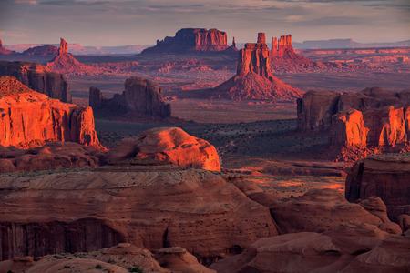 Sunrise in Hunts Mesa navajo tribal majesty place near Monument Valley, Arizona, USA Stock Photo