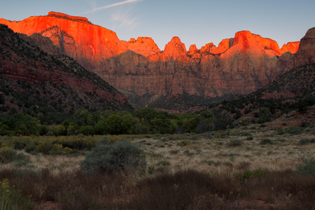 Dawn at Towers of the Virgin, Zion National Park, Utah in autumn