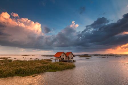 small wooden hut in the lake at Chaloem Phrakiat 80 Phansa Rd., Phatthalung, Thailand