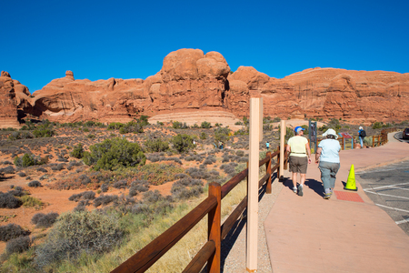 rockclimber: Double Arch Trail at Arches National Park in Moab, Utah USA