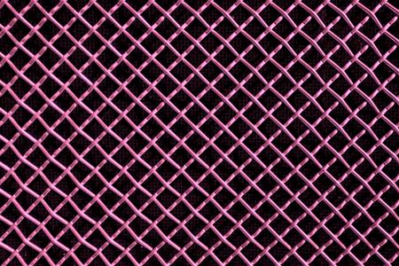 metal mesh: pink metal mesh or aluminum grid with regular pattern on black background