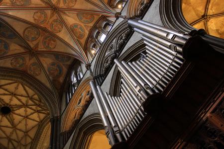 old cathedral organ close up Stock Photo