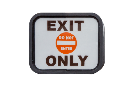Orange Exit Only Sign isolated on white background Stockfoto