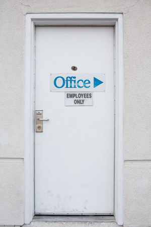 Private Door for employee only with handle, lock and viewer