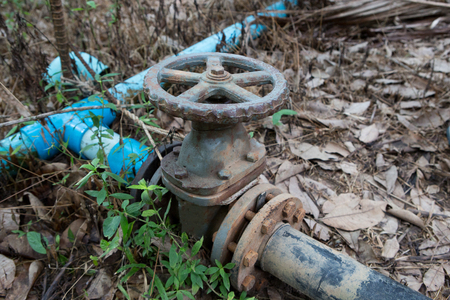 The water valve on the pipe in farm