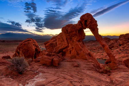Elephant Rock in Valley of Fire State Park, USA. Valley of Fire State Park is the oldest state park in Nevada, USA and was designated as a National Natural Landmark in 1968. 스톡 콘텐츠