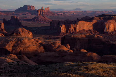 Beautiful Sunset in Hunts Mesa navajo tribal majesty place near Monument Valley, Arizona, USA