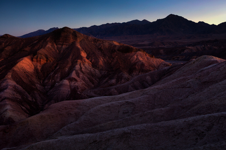 The Colorful Ridges Of Zabriskie Point At Sunrise, Death Valley National Park, California, USA.