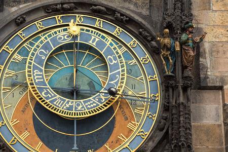 Primo piano storico orologio astronomico di Praga, Repubblica Ceca