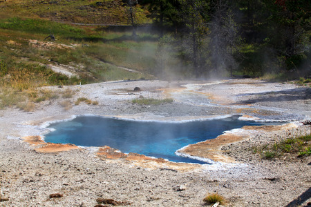 Biscuit Basin in Yellowstone National Park. Thermal area that is part of the Upper Geyser Basin, Wyoming, USA. 免版税图像 - 112335983