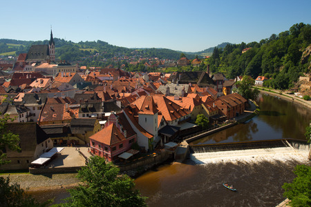 Beautiful view of church and Historic castle in Cesky Krumlov, Czech Republic