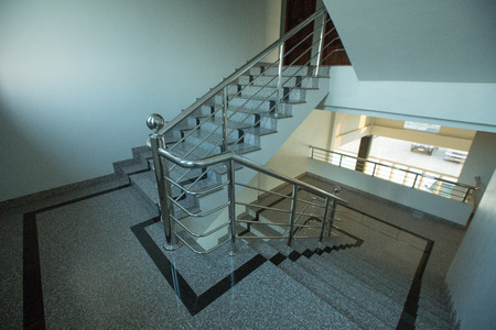 indoor granite Staircase With stainless steel Handrail in the hotel