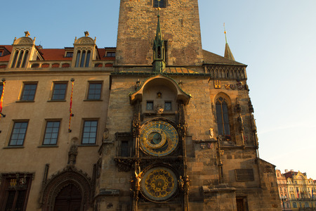 Historical medieval astronomical clock in Old Town Square in Prague, Czech Republic 免版税图像 - 112335998