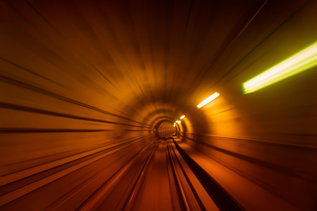 Blurred motion of metro tunnel in Copenhagen 免版税图像