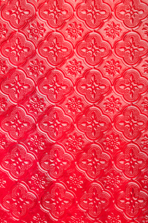Abstract vintage red window glass pattern, Thai style 스톡 콘텐츠