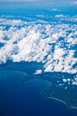 Aerial view of City and Cloud Stock Photo