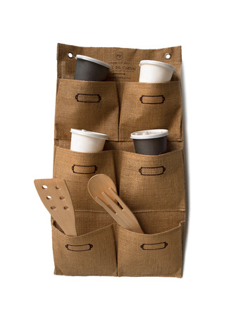 Gunny Wall Hanging Pockets Storage with Coffee Cups and Kitchen accessories photo