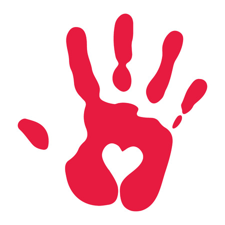 print: Red Handprint With Heart Symbol