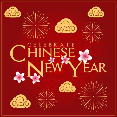 festival people: Celebrate Chinese New Year Card Minimal Design Decoration Illustration