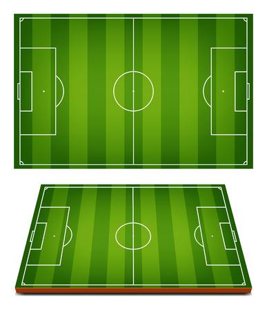 bovenaanzicht plant: vector voetbalvelden gestreepte gras achtergrond Stock Illustratie