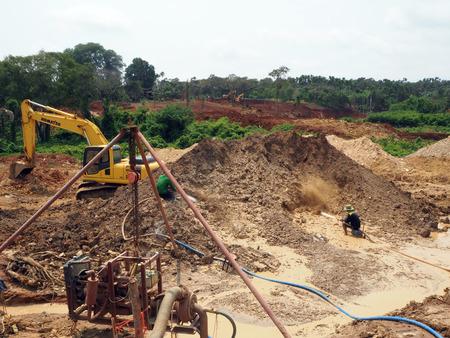 CHANTHABURI THAILAND - MAR 19 2015 Local People Working In the Gemstones Mine in Chanthaburi Thailand on MAR 19 2015