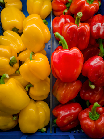 Its a photo of red, yelloe bell peppers in close up in a blue basket or crate in a supermarket. Stock Photo