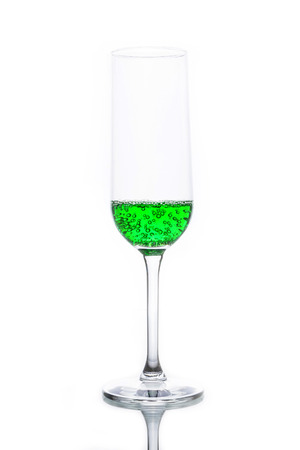 separately: Glass with green sparkling water separately isolated on white.