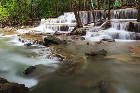 waterscape: Huay Mae Kamin Waterfall in Khuean Srinagarindra National Park, Kanchanaburi Province. Thailand.
