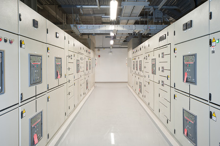 switchgear: Switchgear in the electrical room.