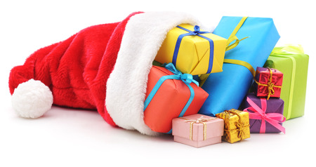 sackful: Gifts in christmas hat on a white background.