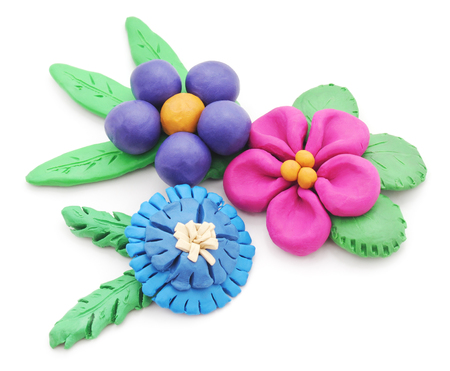 plasticine: Plasticine flowers isolated on a white background.