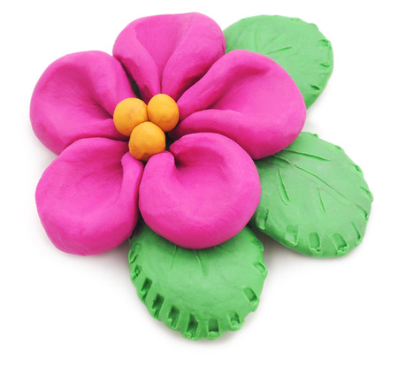 child's play clay: Plasticine flower isolated on a white background.