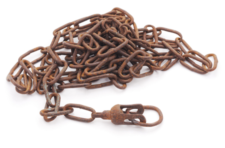duress: Rusty chain isolated on a white background. Stock Photo