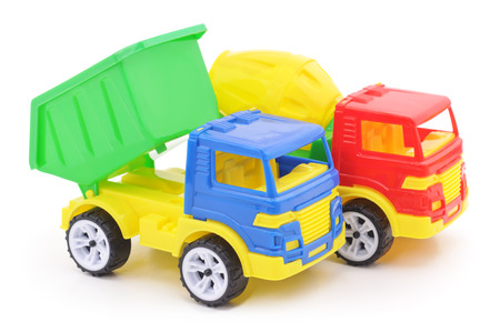 Plastic toy cars isolated on a white background. Stock Photo