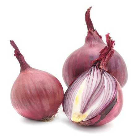 Red onion isolated on a white background.