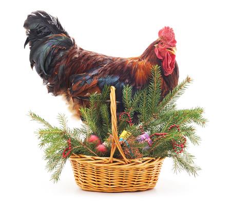 Hahn nahe einem Weihnachtskorb auf einem weißen Hintergrund. Standard-Bild - 89720140