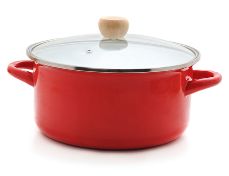 Enamelled red pan isolated on a white background.
