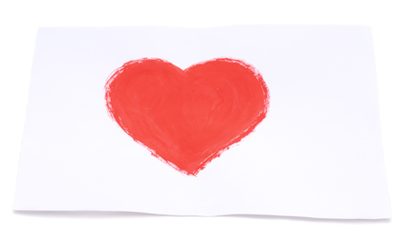 Drawn heart on leaf isolated on a white background. Standard-Bild - 115309209