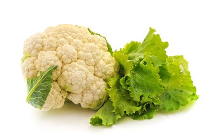 Cauliflower and salad isolated on a white background.