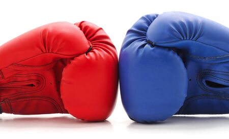 Two boxing gloves isolated on a white background.