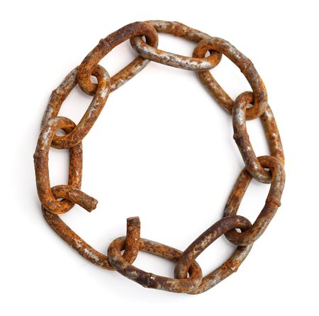 Rusty chain in a circle isolated on white background. 写真素材