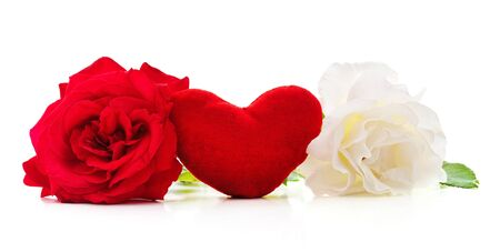 Red and white roses with heart isolated on a white background.